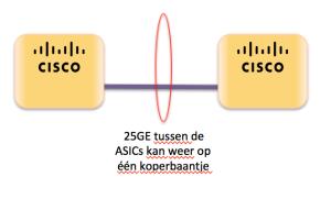 25G - 25GE tussen de ASICs